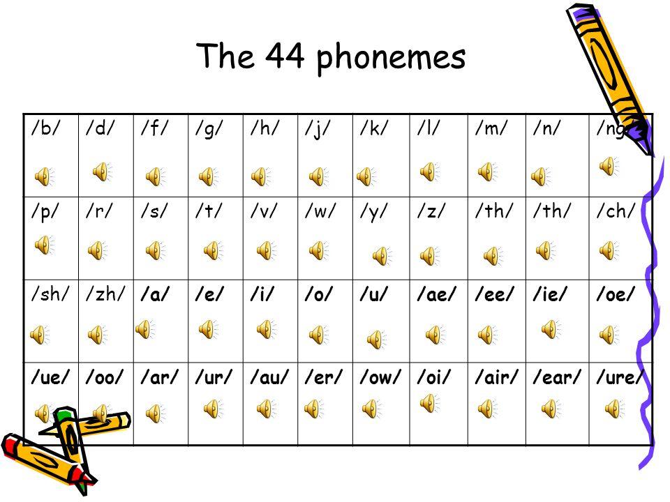 The 44 phonemes /b/ /d/ /f/ /g/ /h/ /j/ /k/ /l/ /m/ /n/ /ng/ /p/ /r/