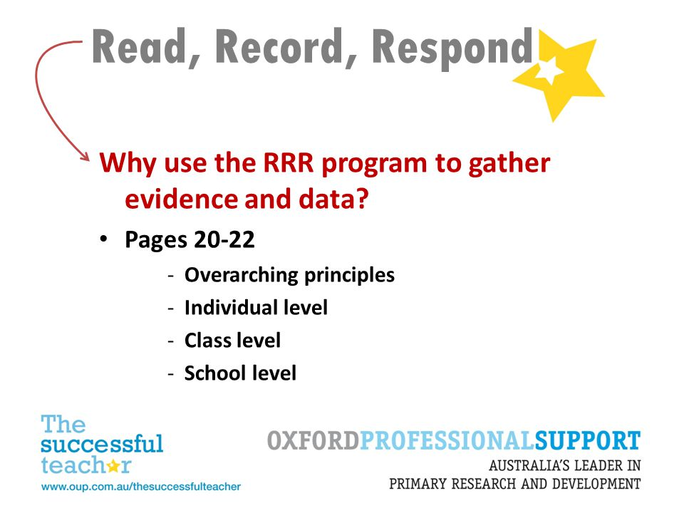 Read, Record, Respond Why use the RRR program to gather evidence and data Pages 20-22. Overarching principles.