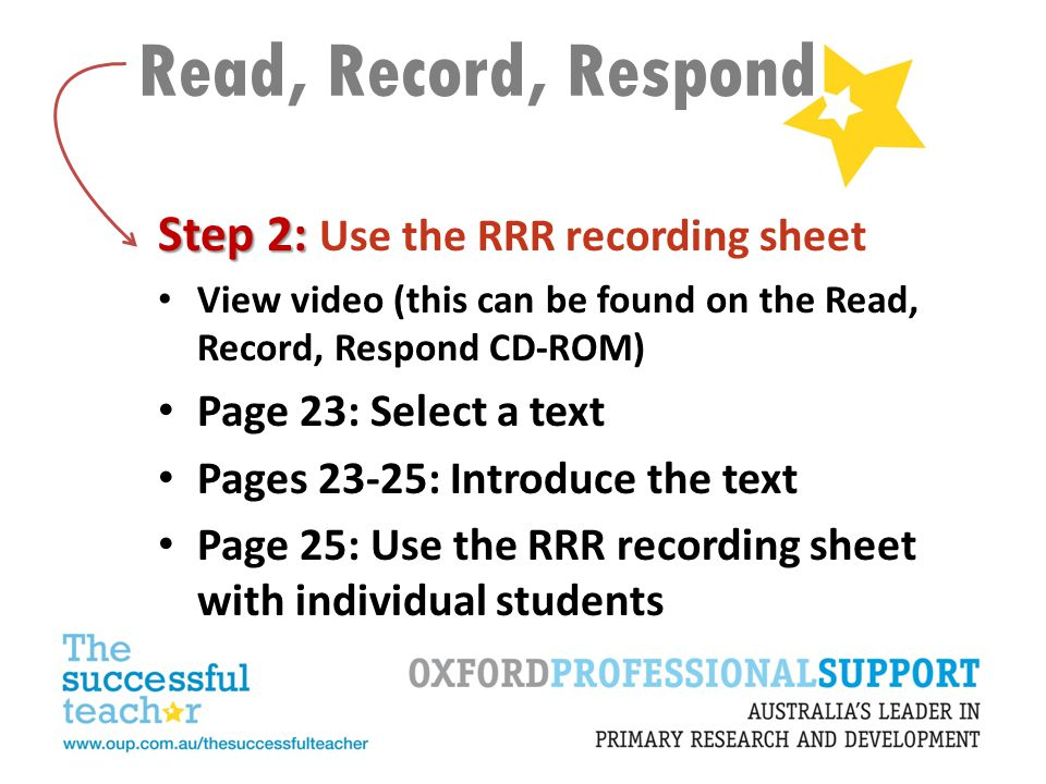 Read, Record, Respond Step 2: Use the RRR recording sheet