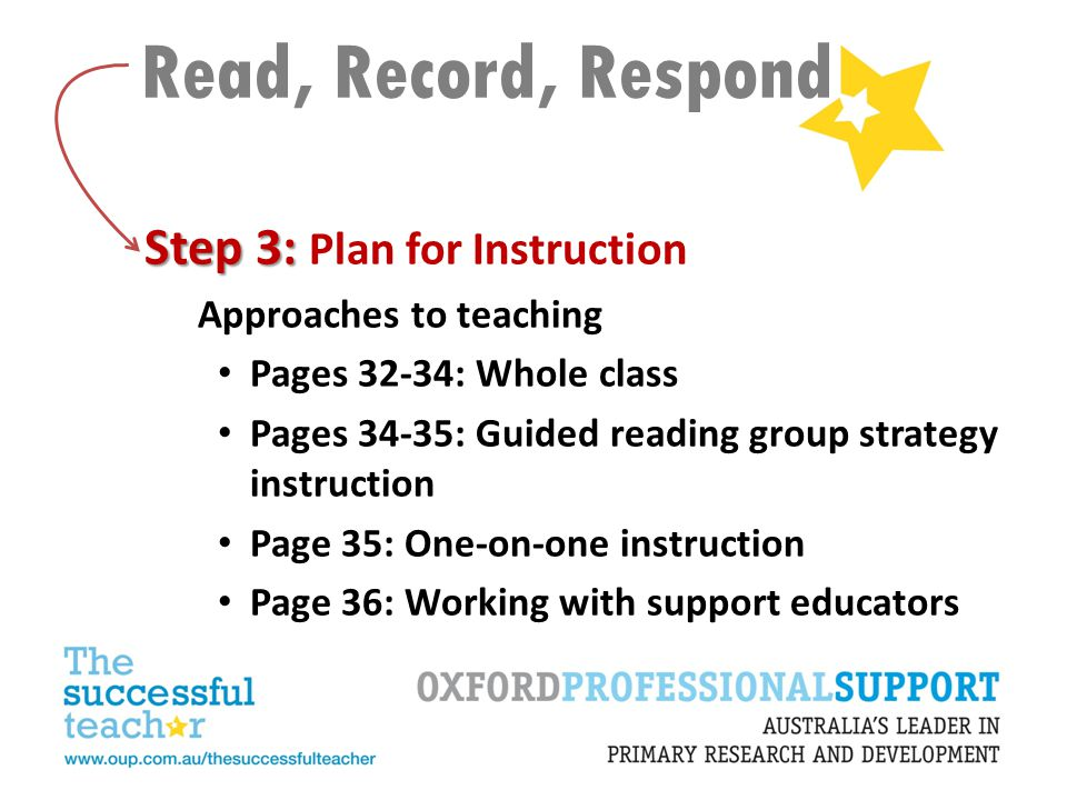 Read, Record, Respond Step 3: Plan for Instruction