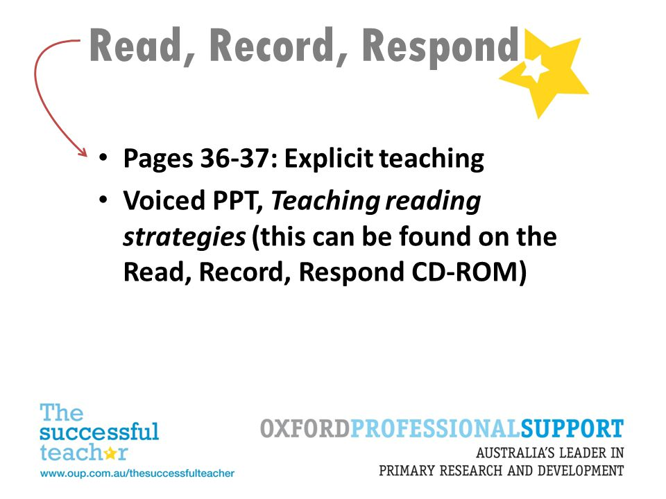 Read, Record, Respond Pages 36-37: Explicit teaching