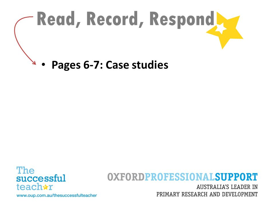 Read, Record, Respond Pages 6-7: Case studies