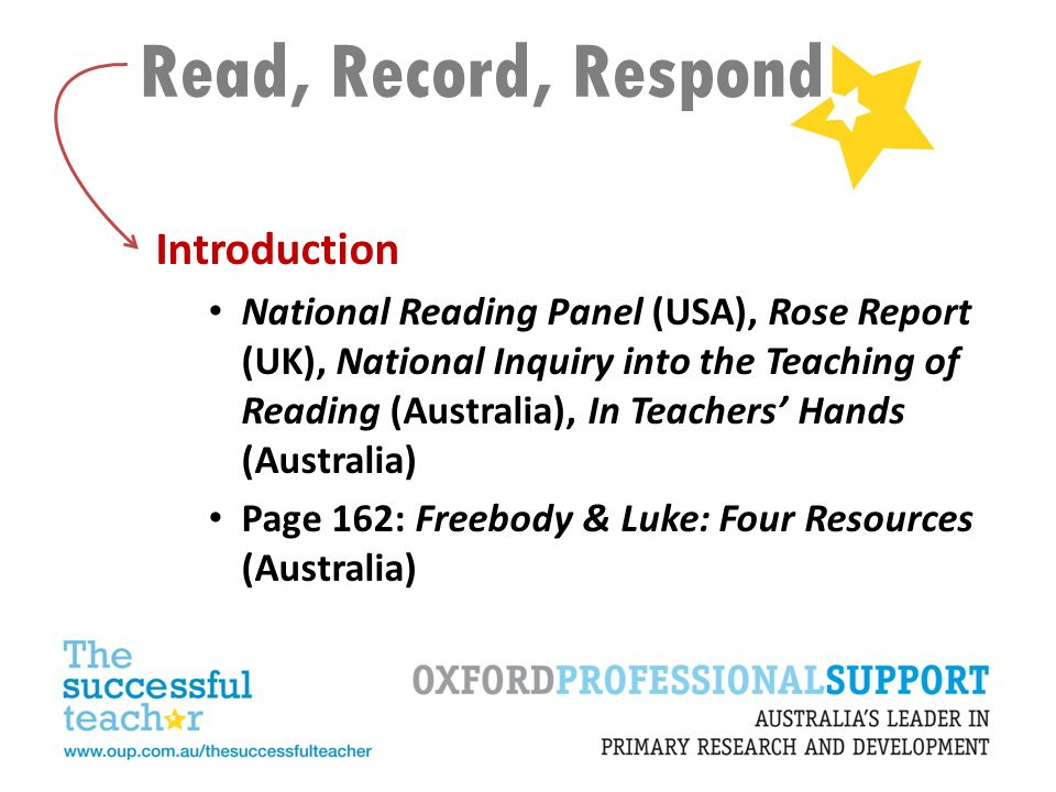 Read, Record, Respond Introduction