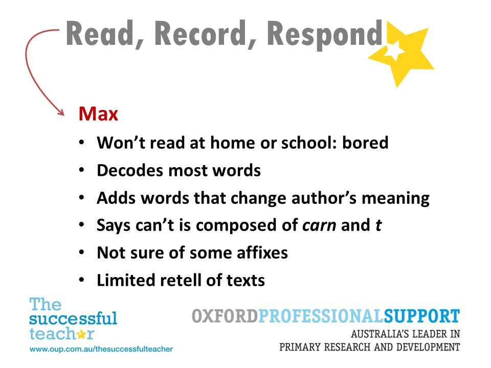 Read, Record, Respond Max Won't read at home or school: bored