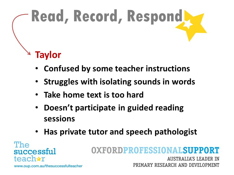 Read, Record, Respond Taylor Confused by some teacher instructions