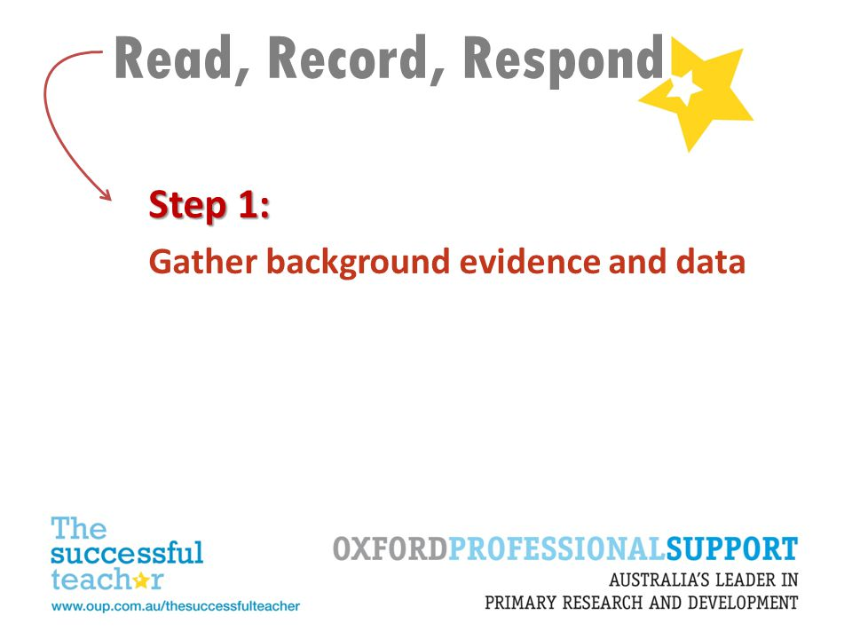 Read, Record, Respond Step 1: Gather background evidence and data
