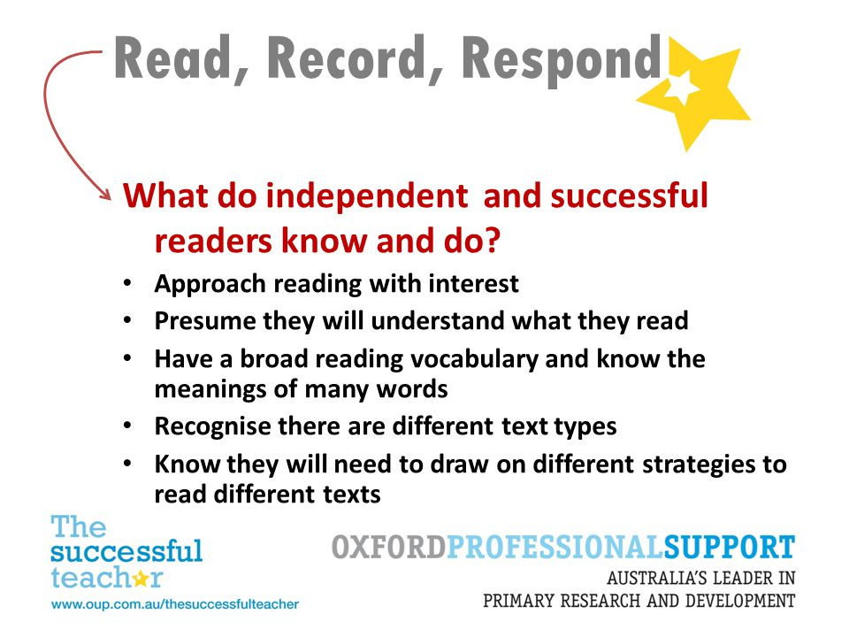Read, Record, Respond What do independent and successful readers know and do Approach reading with interest.