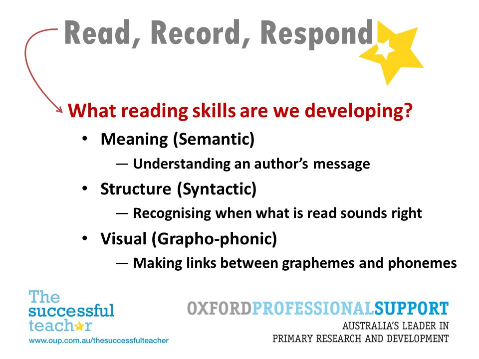 Read, Record, Respond What reading skills are we developing