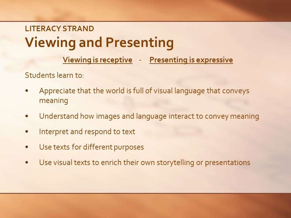 LITERACY STRAND Viewing and Presenting
