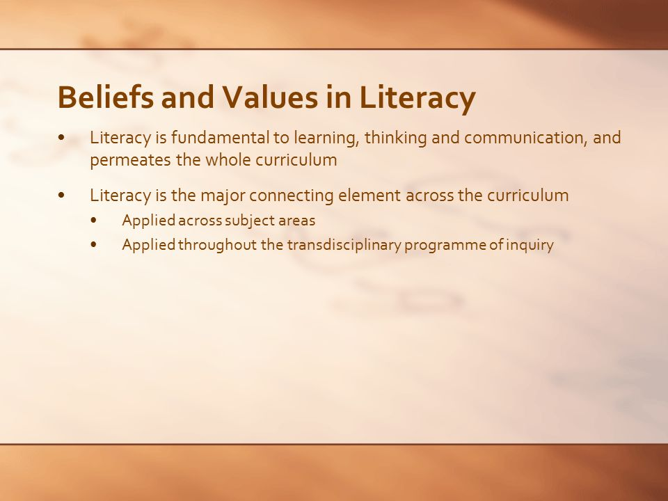 Beliefs and Values in Literacy