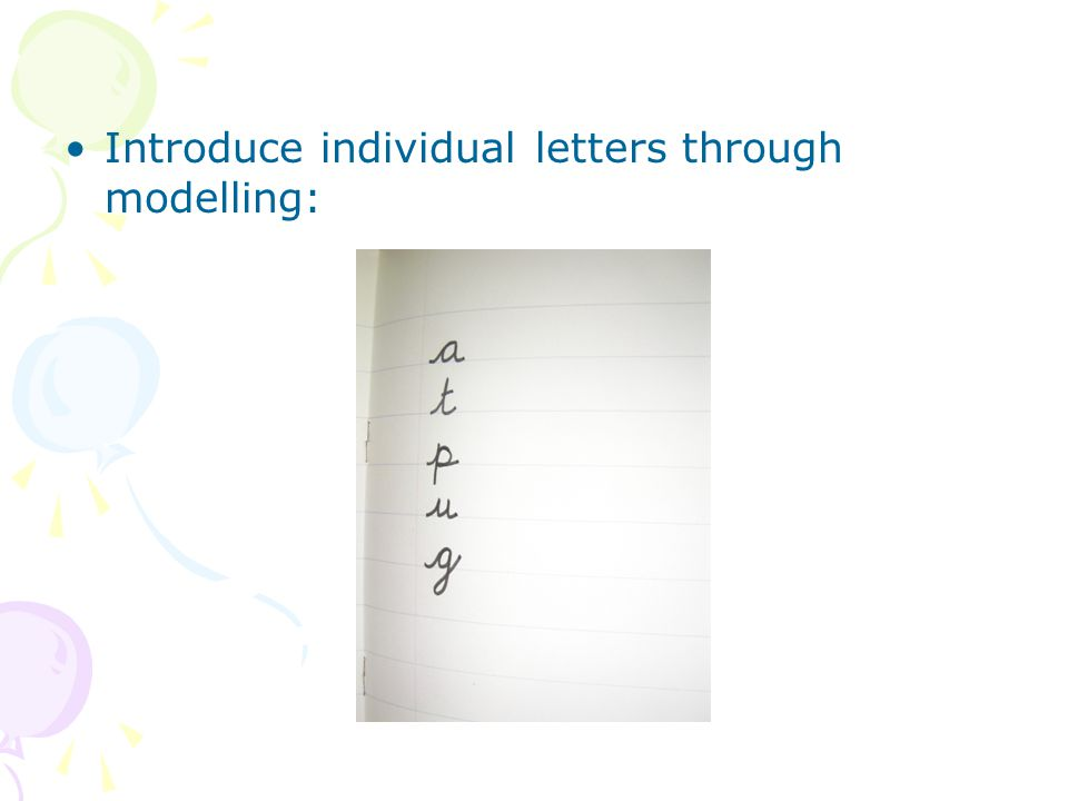 Introduce individual letters through modelling: