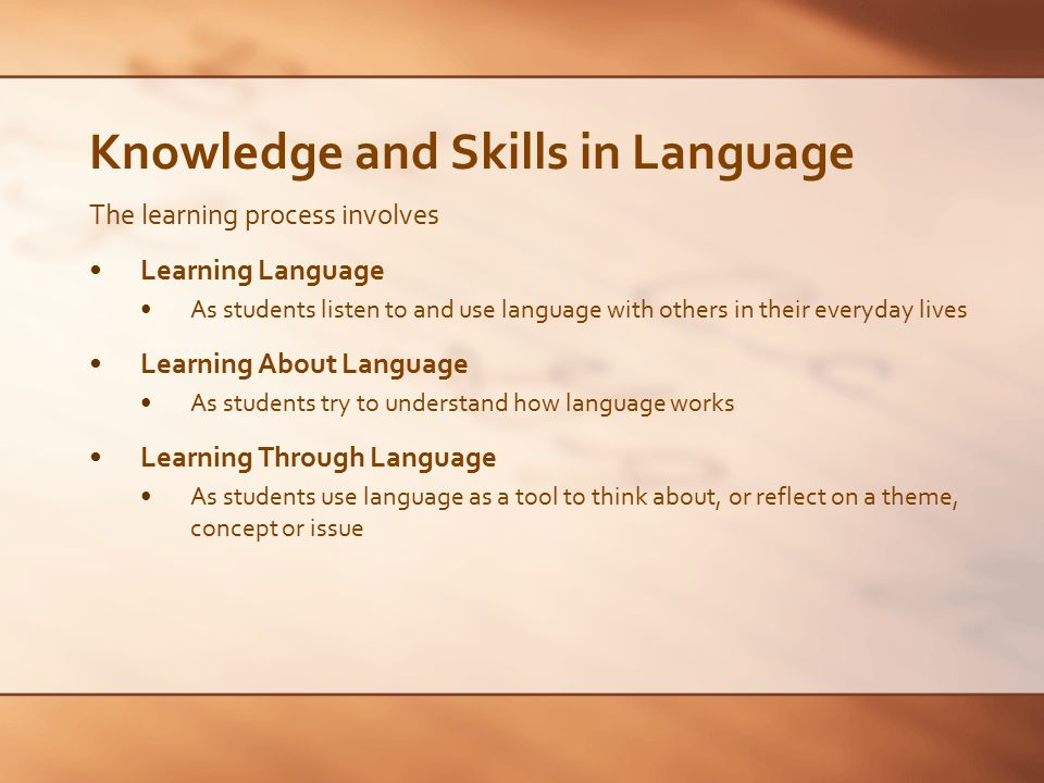 Knowledge and Skills in Language