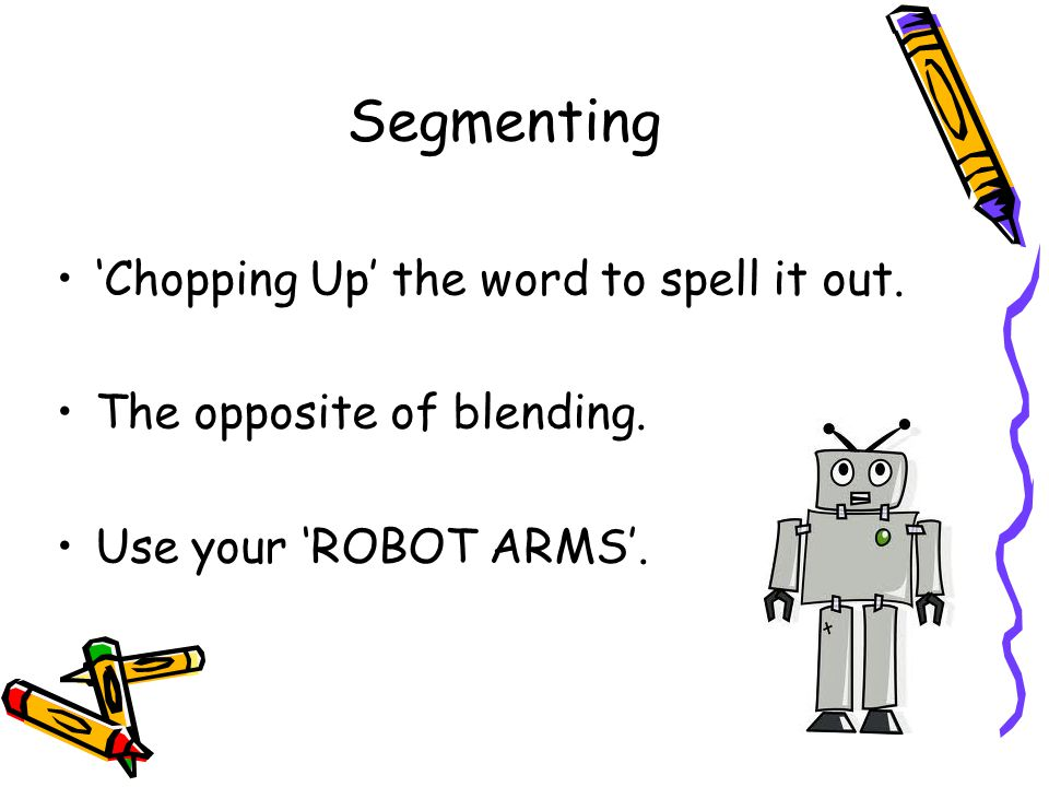 Segmenting 'Chopping Up' the word to spell it out.