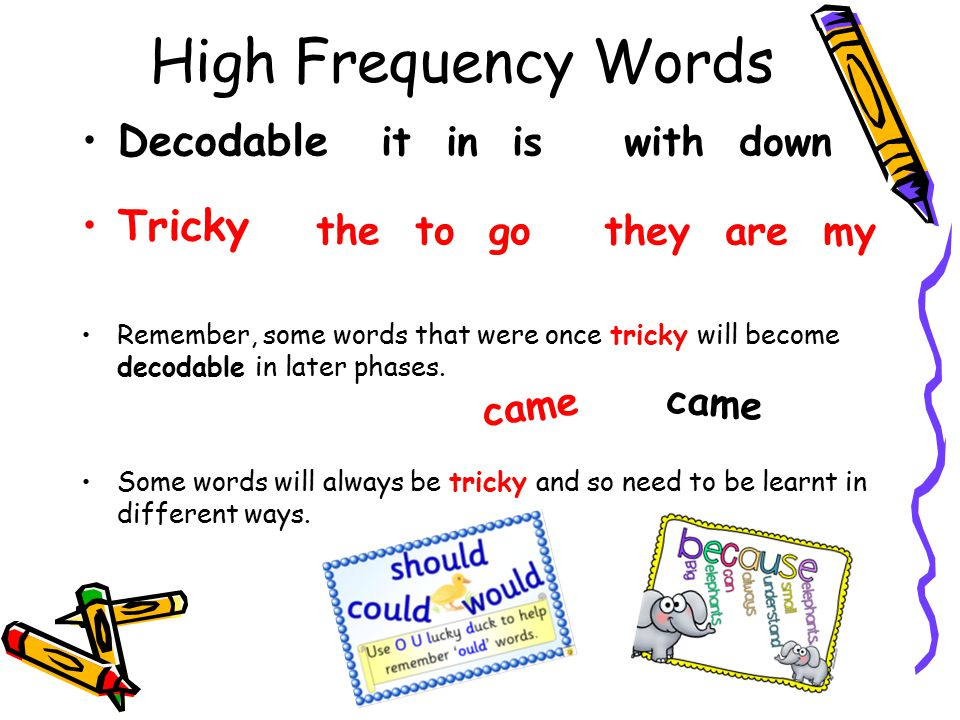 High Frequency Words Decodable Tricky it in is with down the to go