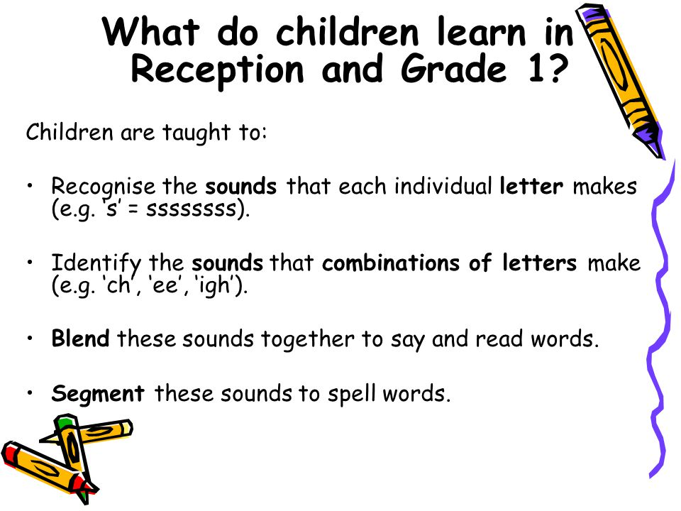 What do children learn in Reception and Grade 1