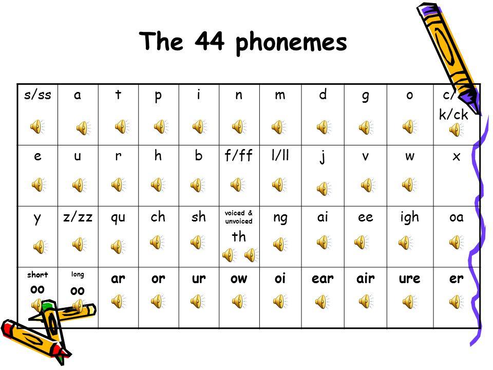 The 44 phonemes s/ss a t p i n m d g o c/ k/ck e u r h b f/ff l/ll j v