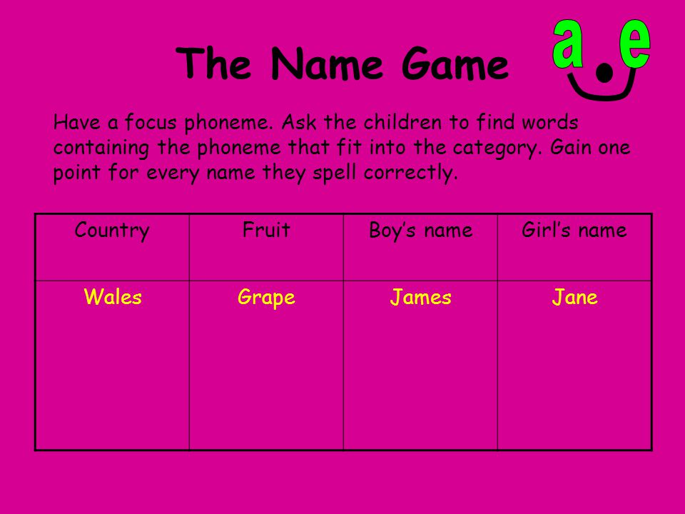 The Name Game a e.