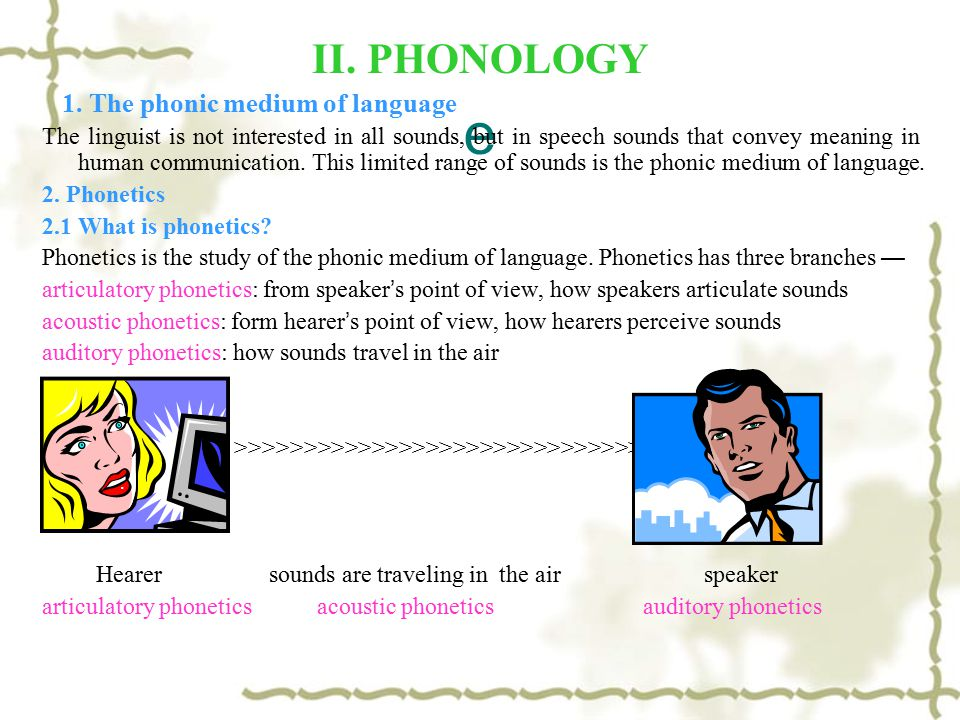 e II. PHONOLOGY 1. The phonic medium of language