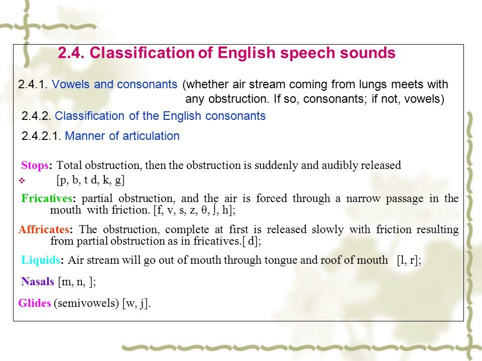 2.4. Classification of English speech sounds