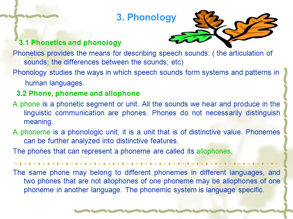 3. Phonology 3.1 Phonetics and phonology