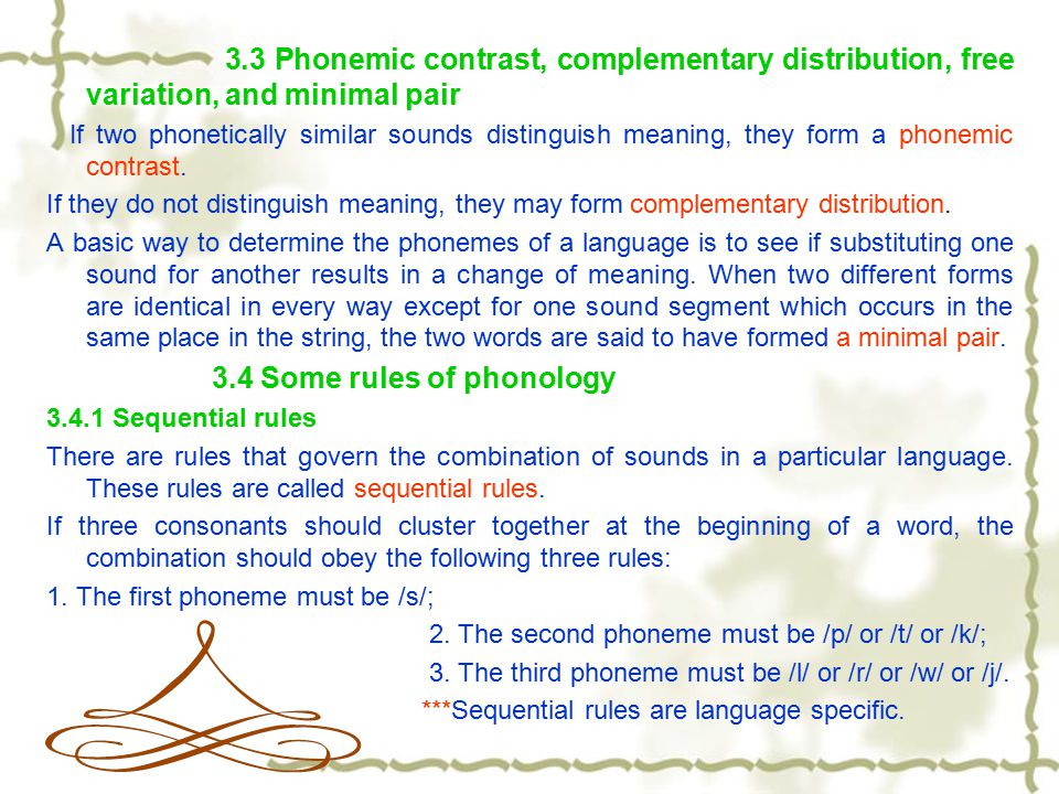 3.3 Phonemic contrast, complementary distribution, free variation, and minimal pair