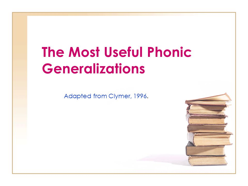 The Most Useful Phonic Generalizations