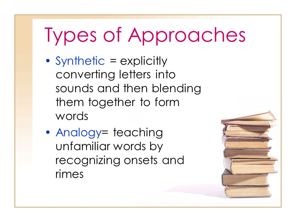 Types of Approaches Synthetic = explicitly converting letters into sounds and then blending them together to form words.