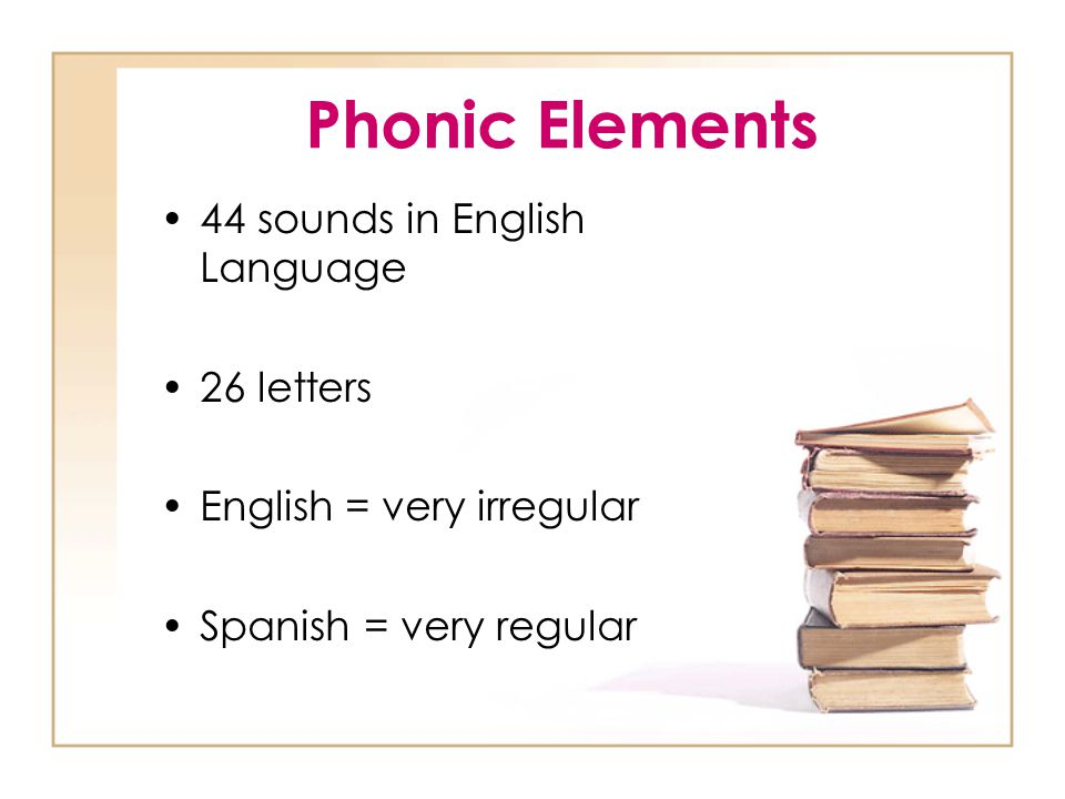 Phonic Elements 44 sounds in English Language 26 letters