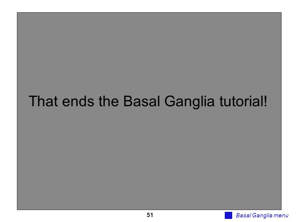 That ends the Basal Ganglia tutorial!