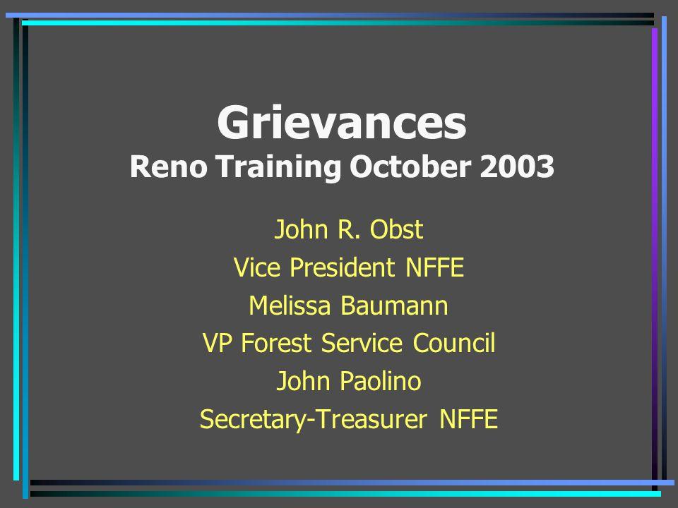 Grievances Reno Training October 2003
