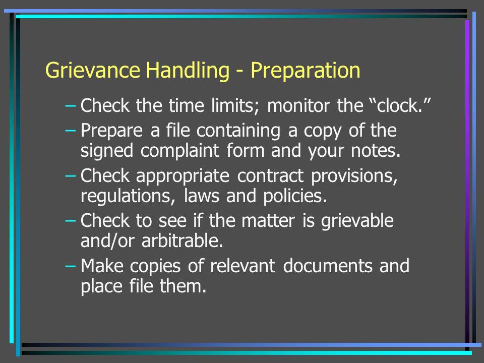 Grievance Handling - Preparation