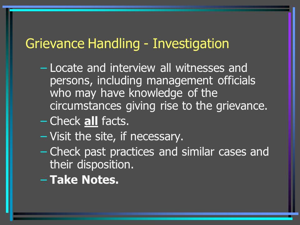 Grievance Handling - Investigation