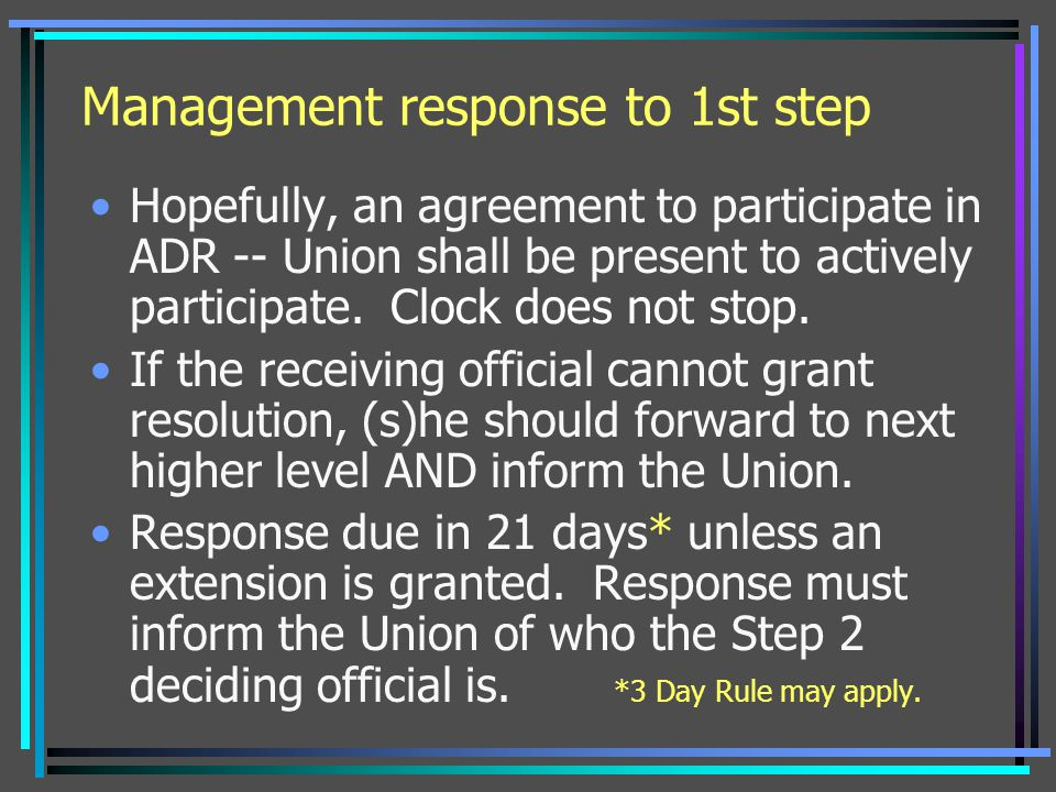 Management response to 1st step