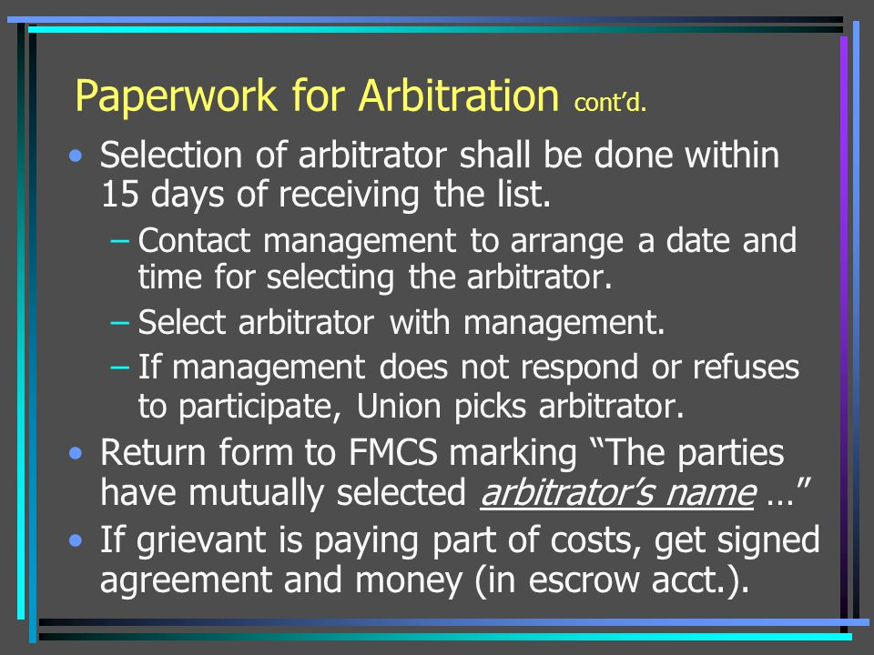 Paperwork for Arbitration cont'd.