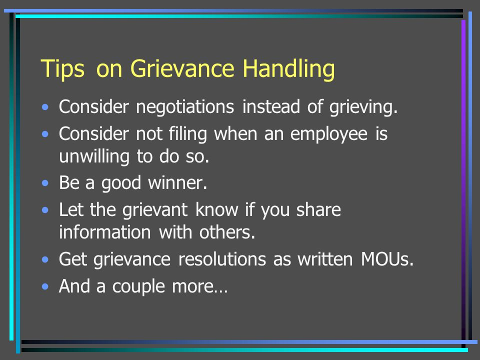 Tips on Grievance Handling