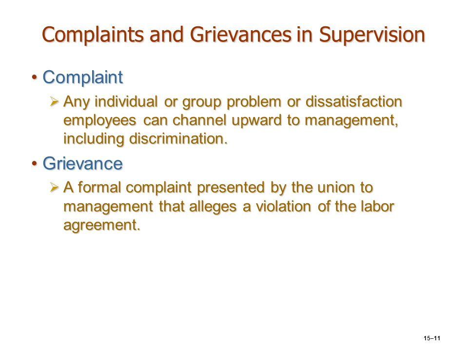 Complaints and Grievances in Supervision