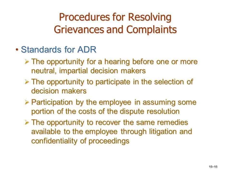 Procedures for Resolving Grievances and Complaints