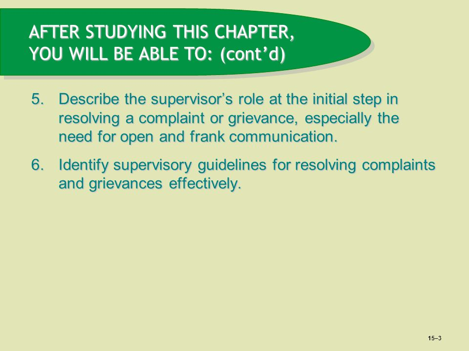 AFTER STUDYING THIS CHAPTER, YOU WILL BE ABLE TO: (cont'd)