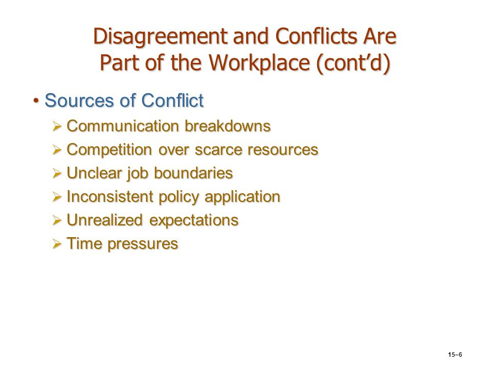 Disagreement and Conflicts Are Part of the Workplace (cont'd)
