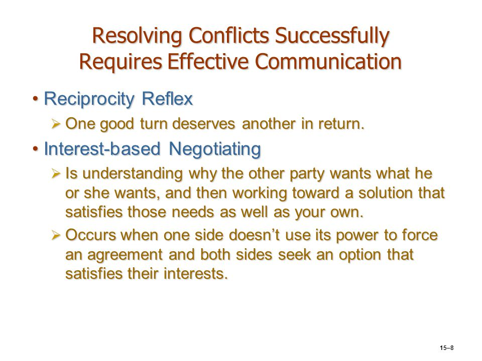 Resolving Conflicts Successfully Requires Effective Communication