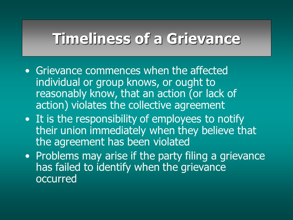 Timeliness of a Grievance