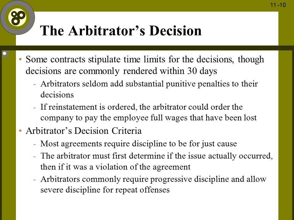 The Arbitrator's Decision