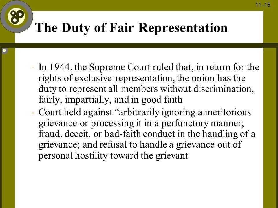 The Duty of Fair Representation