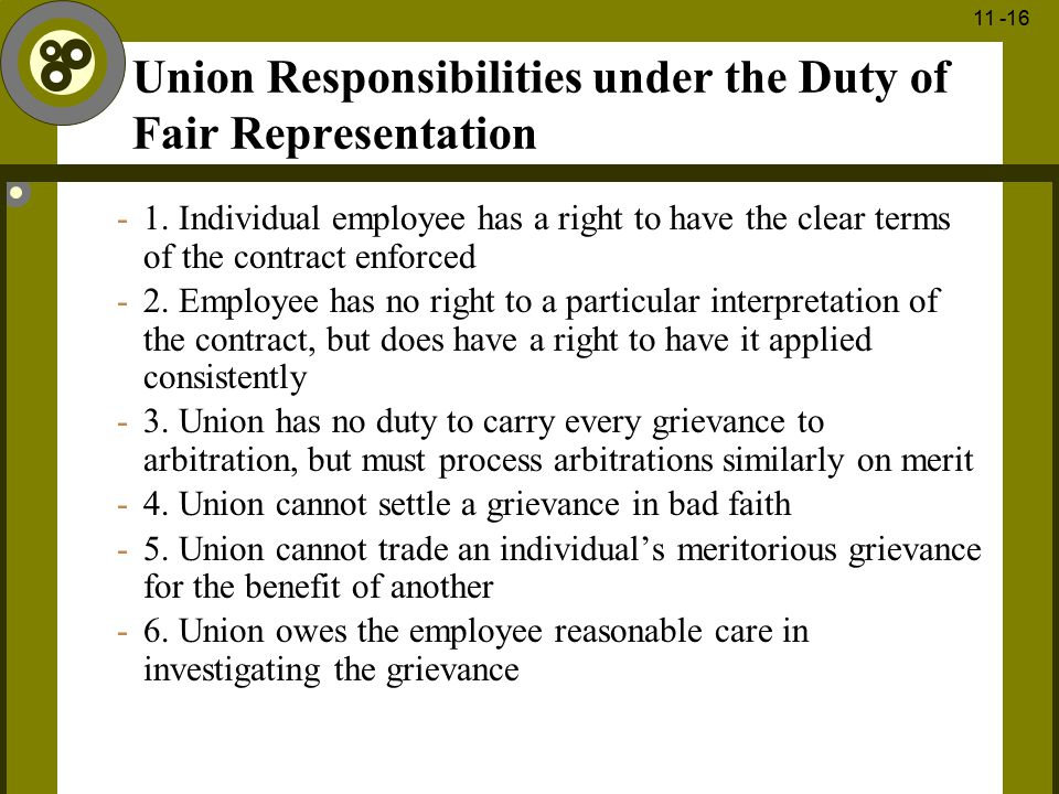 Union Responsibilities under the Duty of Fair Representation
