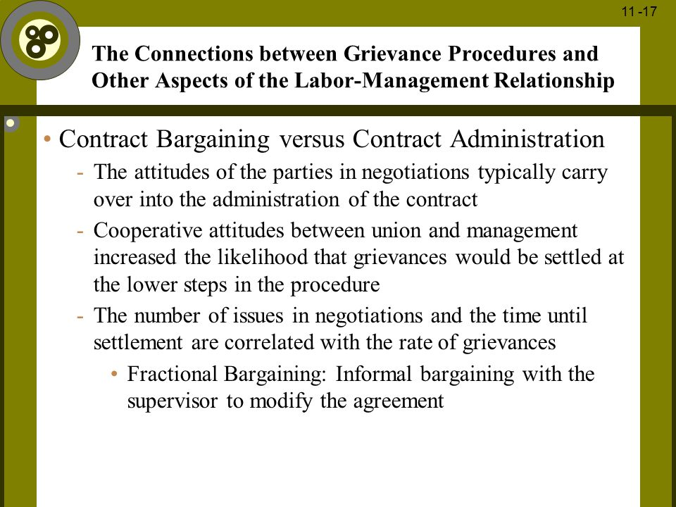 Contract Bargaining versus Contract Administration