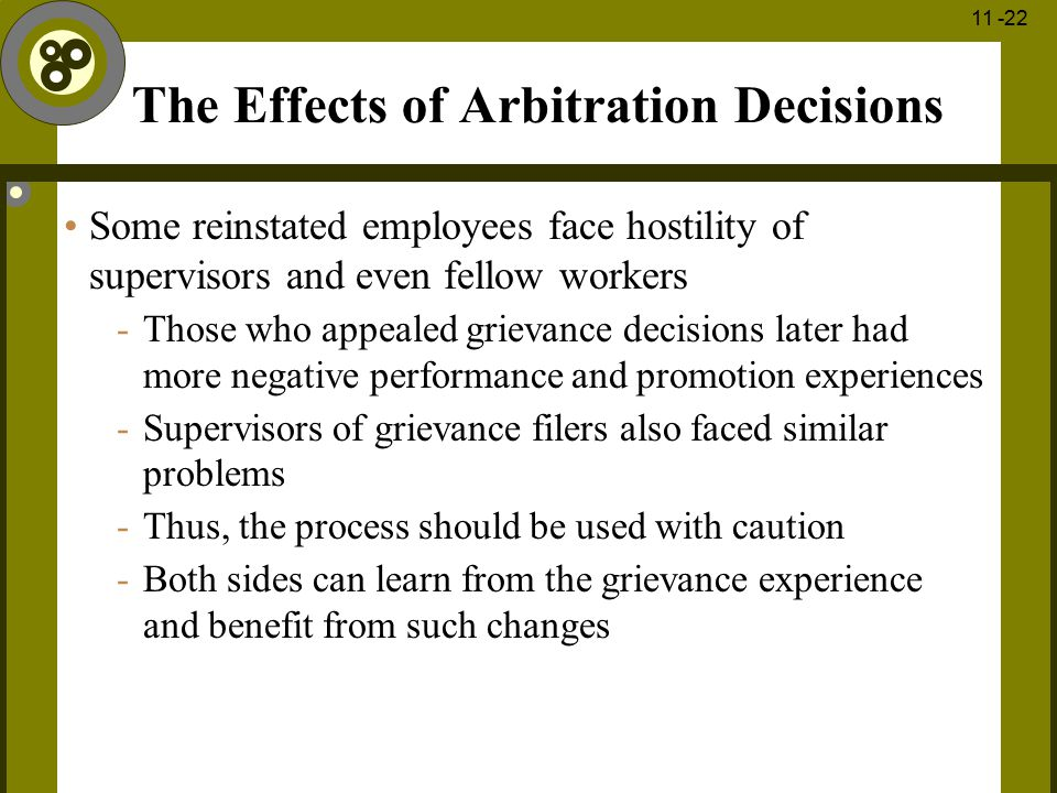 The Effects of Arbitration Decisions