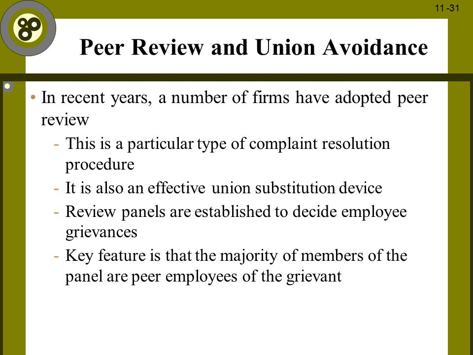 Peer Review and Union Avoidance