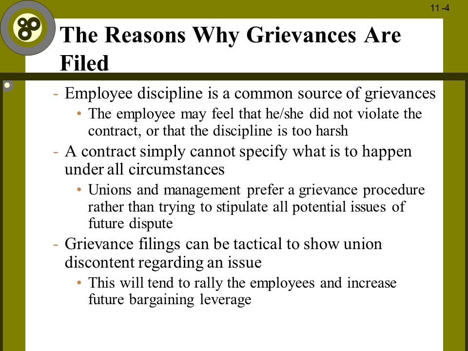The Reasons Why Grievances Are Filed