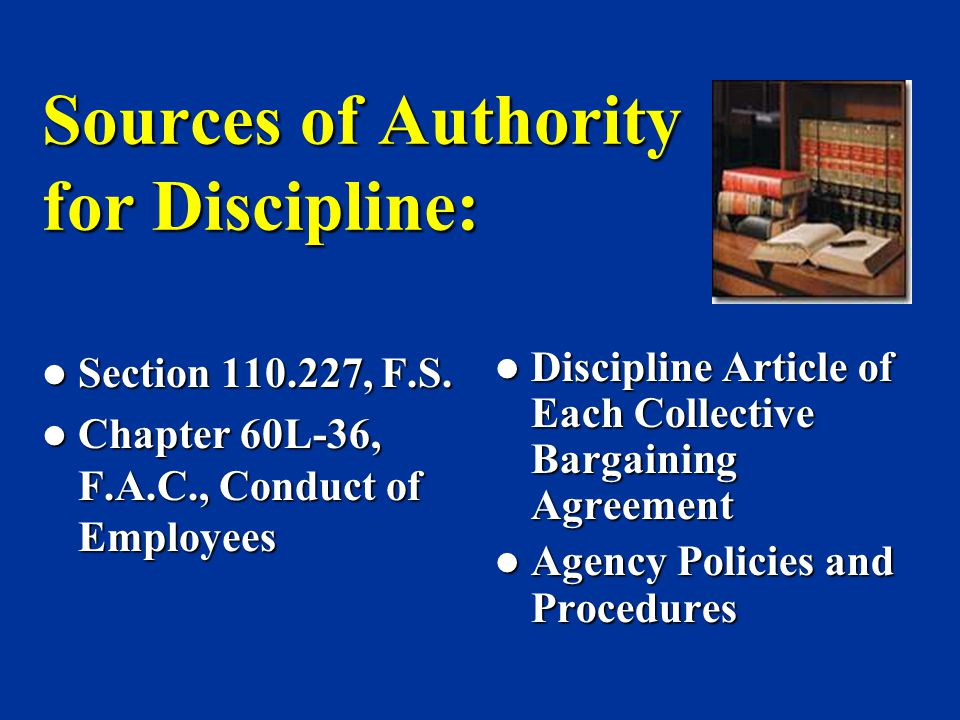 Sources of Authority for Discipline:
