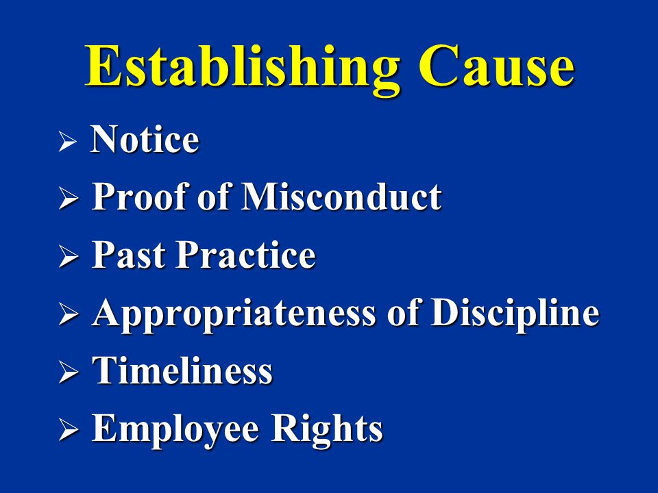Establishing Cause Proof of Misconduct Past Practice